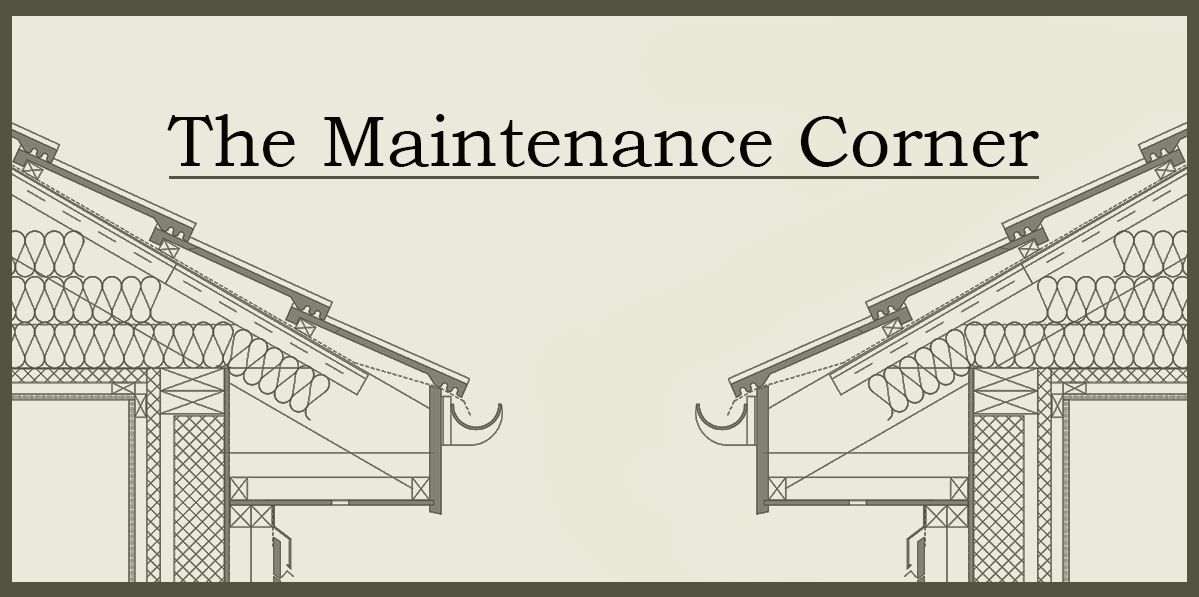 Logo for The Maintenance Corner showing two roofing details