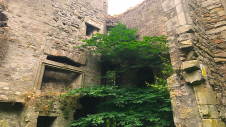 Dalquharran Castle showing fireplace of 17th century extension