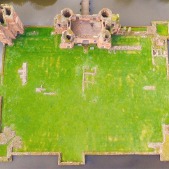 Overhead view of Kirby Muxloe Castle