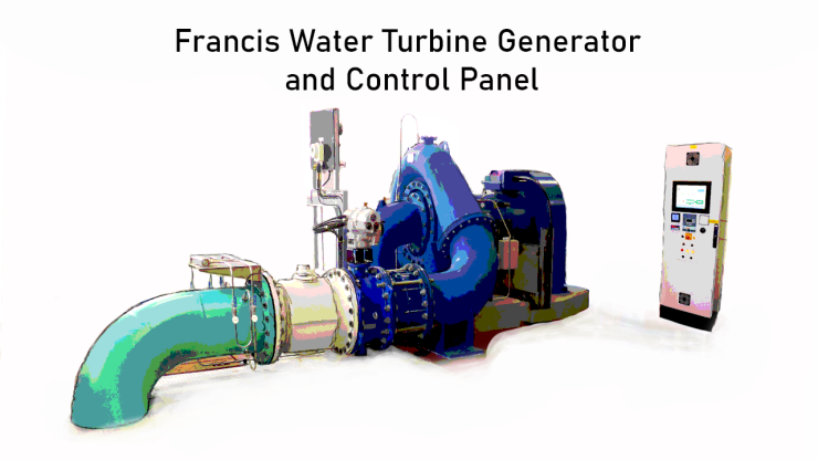Francis Water Turbine Generator and Control Panel