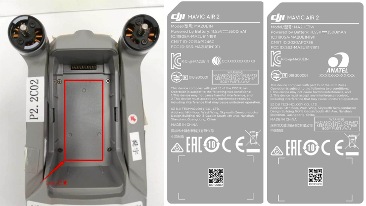 DJI Mavic Air 2 with labels